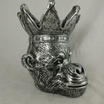 Bloempot aap zilver 23x25x29cmH