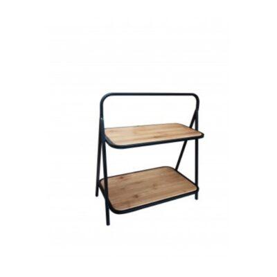 Etagère hout metaal 42x25x46cmH