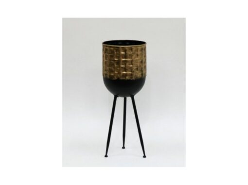 Bloempot metaal zwart/goud Ø21.5x54.5cmH