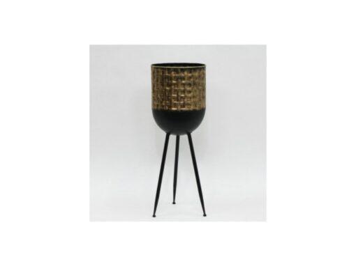 Bloempot metaal zwart/goud Ø25.5x69.5cmH
