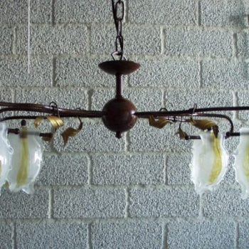 Plafondlamp met 6 glazen kapjes 60x40cm