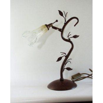 Lamp krul met glazen kapje 40cm