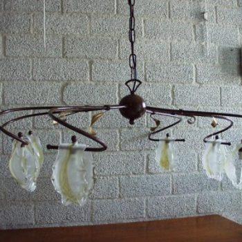 Plafondlamp 6 glazen kapjes 80x54cm