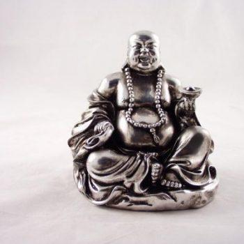 Boeddha zittend zilverplate 15cmH