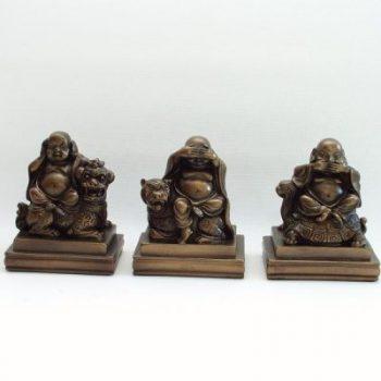 Boeddha's Horen zien zwijgen set 9cmH