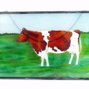 Raamdecoratie glas Koe roodbont