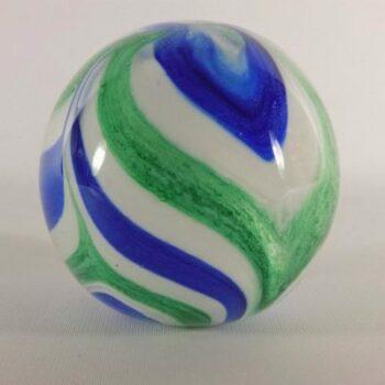 Paperweight glas bol blauw/wit/groen Ø9.5cm