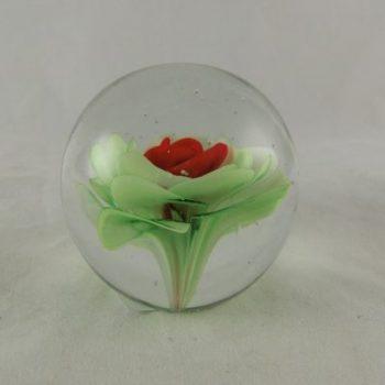 "Presse Papier glas ""Red flower"" Ø7cm"