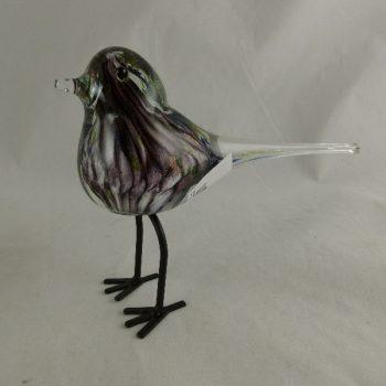 Vogel glas purper/groen op poten 17cmLx12cmH