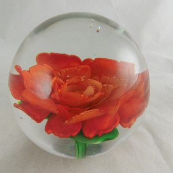 "Presse papier glas ""red rose"" 10cm"