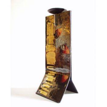 Kandelaar glas zwart/goud 14x13x31cmH