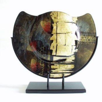 Vaas glas zwart/goud in standaard halfrond Ø37cm