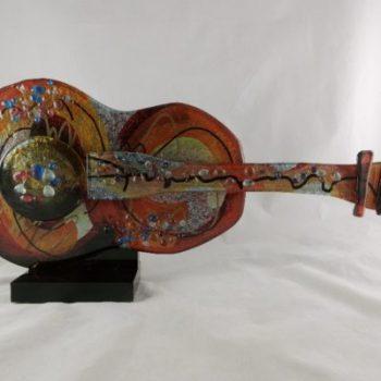 Sculptuur gitaar glas klassiek 52cmLx23cmH