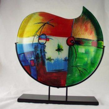 Vaas glas maanvorm multicolor in standaard 48cmH