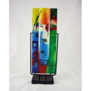 Vaas glas multicolor smal in standaard 13x40cmH
