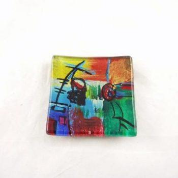 Schaaltje glas vierkant multicolor 9x9cm
