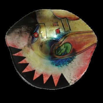 Schaal hoed glas gekleurd Ø46x10cmH