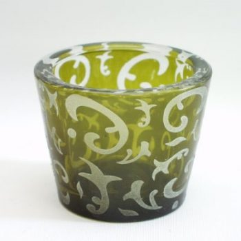 Waxinelicht glas olijfgroen stel 6.5cmH