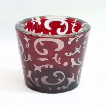 Waxinelicht glas rood stel 6.5cmH
