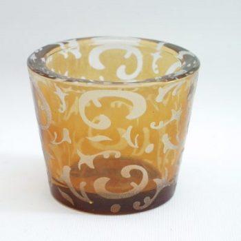 Waxinelicht glas geel stel 6.5cmH