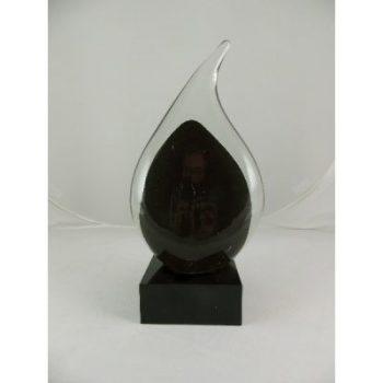 "Urn ""Teardrop"" glas zwart 28cmH"