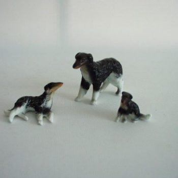 Barzoi zwart/wit set 6.5cmLx4.5cmH