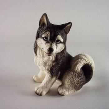 husky porselein zittend 10cmH