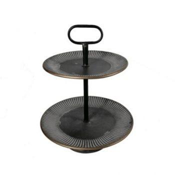 Etagère metaal 2-laags zwart Ø40.5x50.5cmH