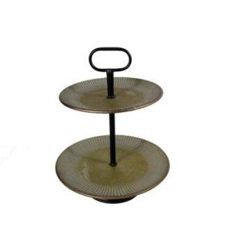 Etagère metaal 2-laags brons Ø40.5x50.5cmH