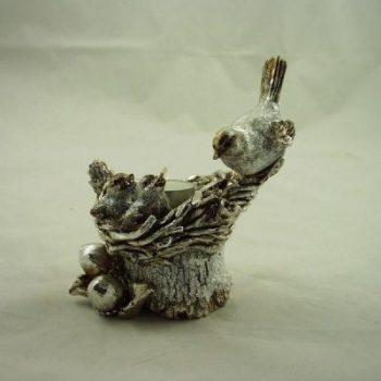 Vogels op nest zilverkleur voor theelicht