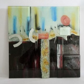 "Wanddecoratie glas ""sunset"" 50x50cm"