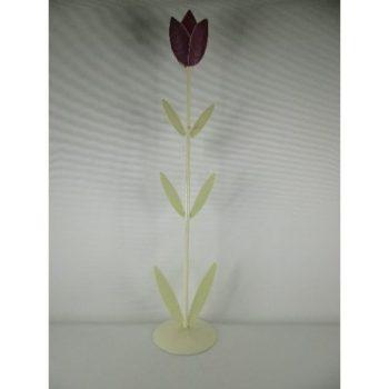 Kandelaar metaal tulp paars 61cmH