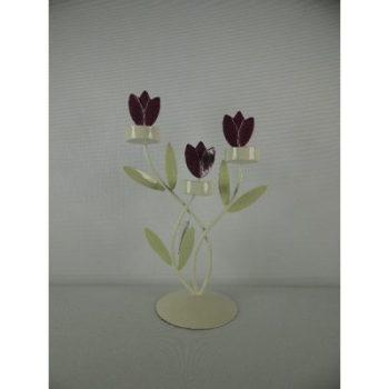 Kandelaar metaal 3 tulpen met sfeerlichtjes 29cmH