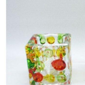 Sfeerlicht vierkant glas oranje/geel 6cmH
