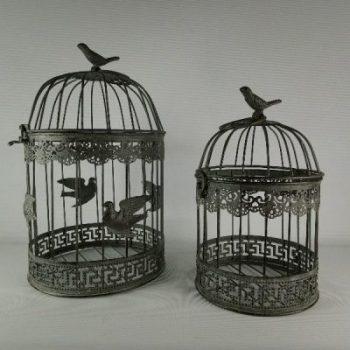 Vogelkooitjes stel rond bruin 17 en 40cmH