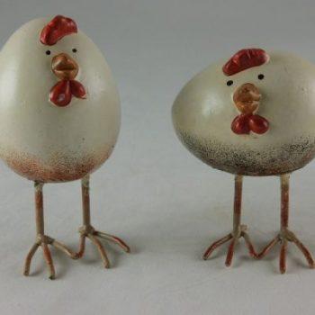 Kip en Haan stel staand ei-vorm 11cmH