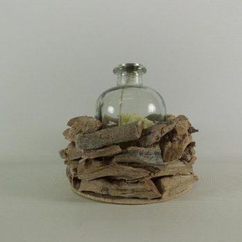 Kandelaar drijfhout met apothekersfles