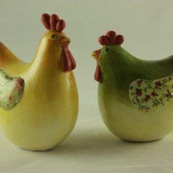Kip en haan stel geel groen 12.5cmH