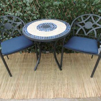 Bistro set metaal tafel met 2 stoelen en kussens