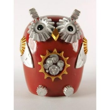 Spaarpot robot uil rood 15cmH