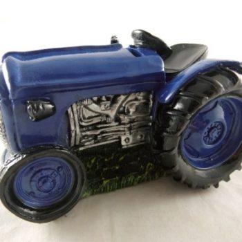Spaarpot tractor blauw 17.5x12x10cm